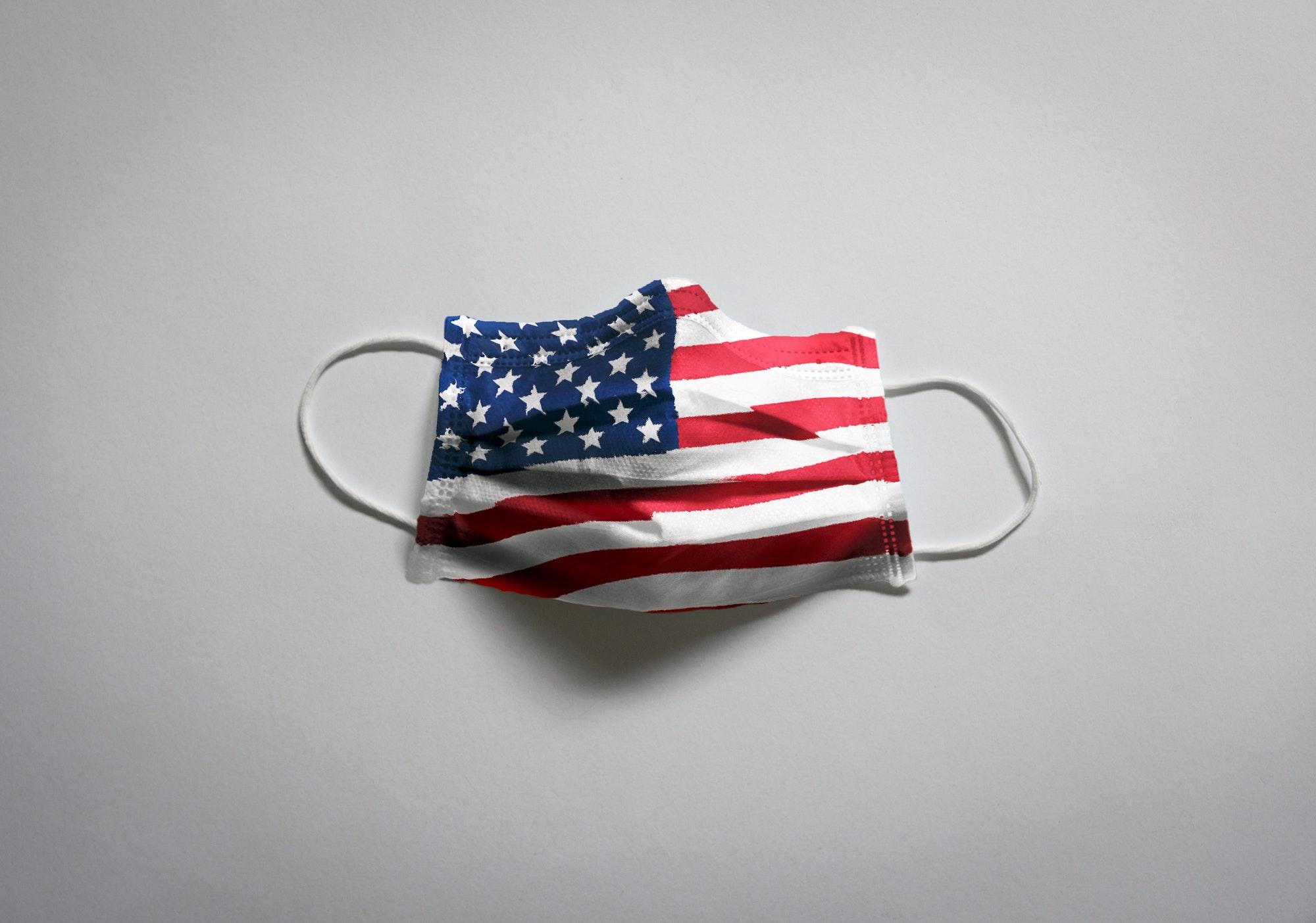 Face mask, covid, american flag, stars and stripes on mask, corona, coronavirus.