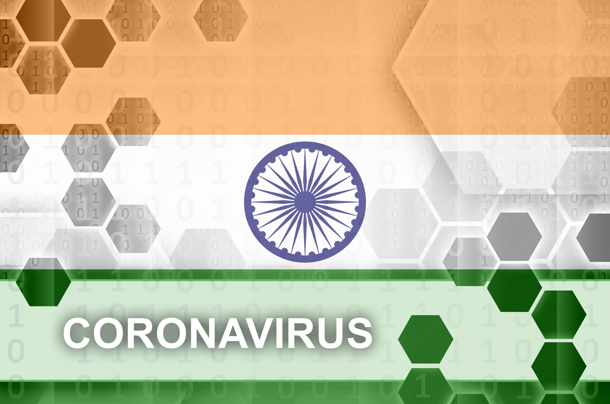 India flag and futuristic digital abstract composition with Coronavirus inscription